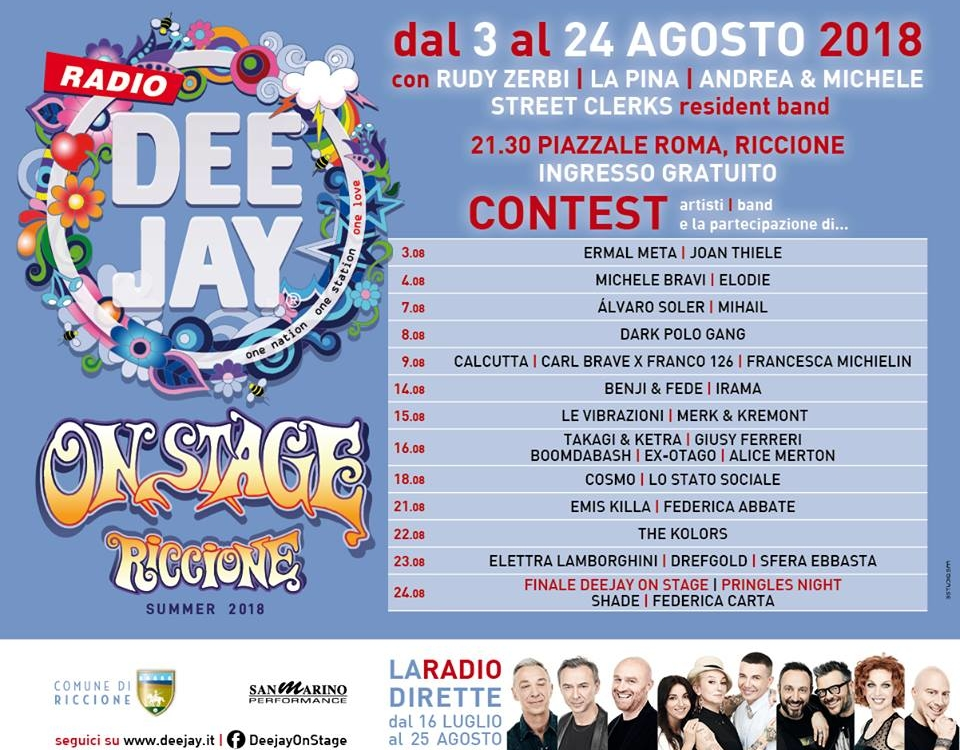 DEEJAY ON STAGE dal 3 al 24 agosto 2018