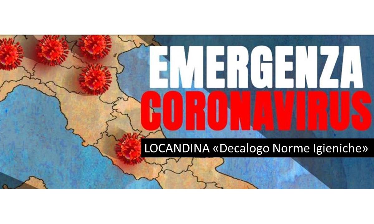 """CORONAVIRUS: Locandina """"Decalogo norme igieniche"""""""