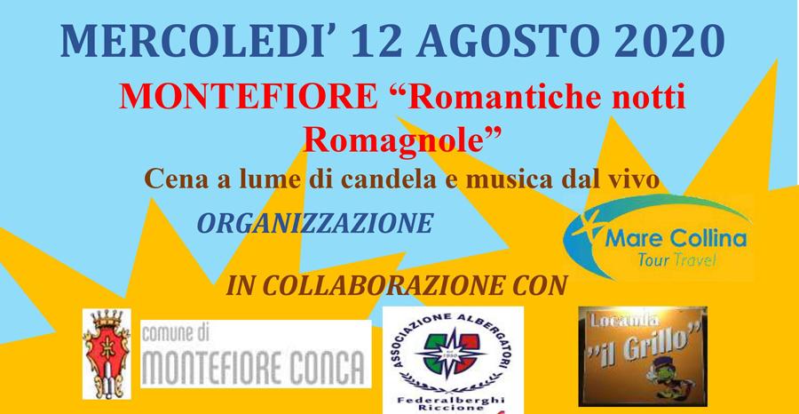 MERCOLEDI' 12 AGOSTO 2020 – Cena a lume di candela a Montefiore