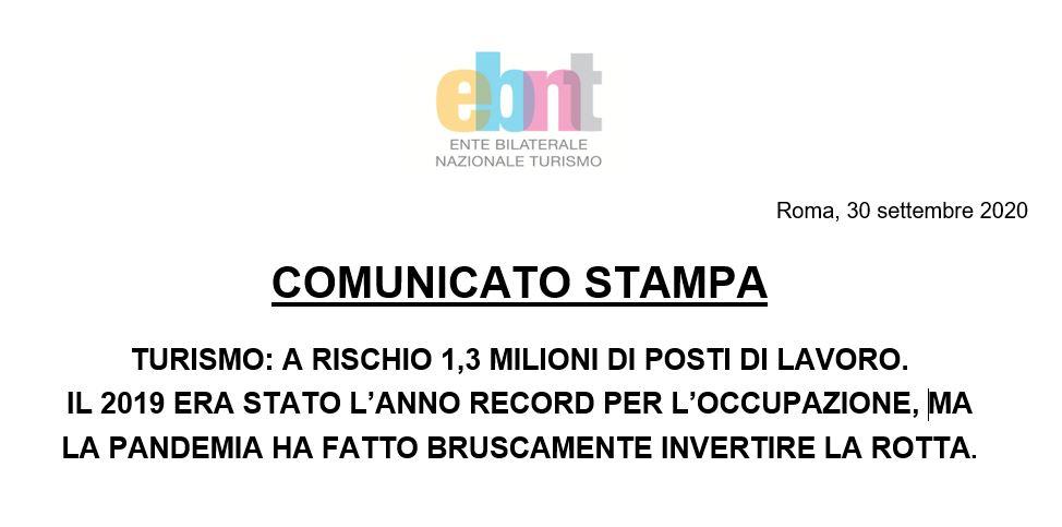 TURISMO: A RISCHIO 1,3 MILIONI DI POSTI DI LAVORO – Comunicato stampa