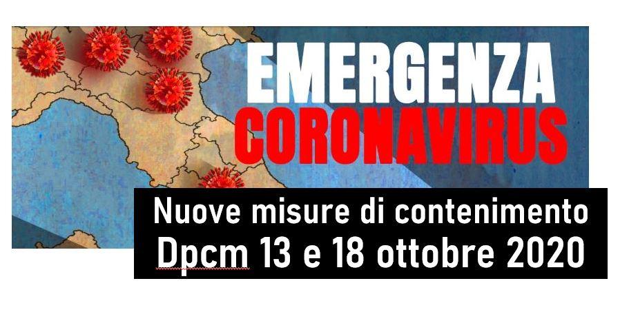 Protetto COVID19 – Nuove misure di contenimento – Dpcm 13 e 18 ottobre 2020 – Gazzette Ufficiali n. 253 e 258 del 2020