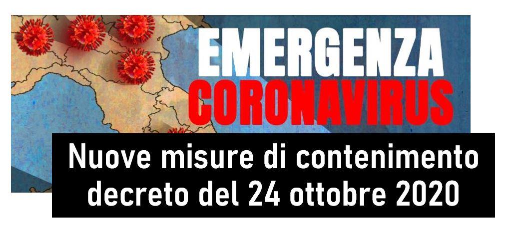 Protetto Nuove misure di contenimento – decreto del Presidente del Consiglio dei Ministri 24 ottobre 2020 – Gazzetta Ufficiale 25 ottobre 2020, n 265
