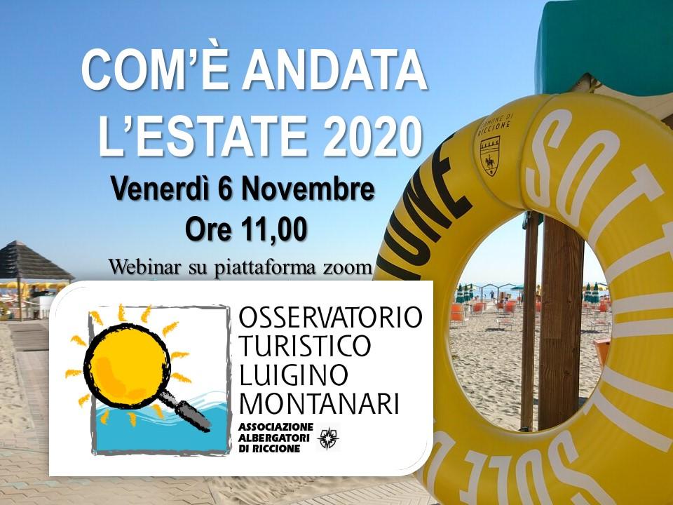 Webinar COM'E' ANDATA L'ESTATE 2020 – venerdì 6 novembre ore 11