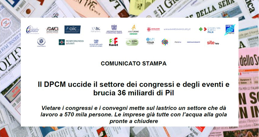 COMUNICATO STAMPA – Il DPCM uccide il settore dei congressi e degli eventi e brucia 36 miliardi di Pil
