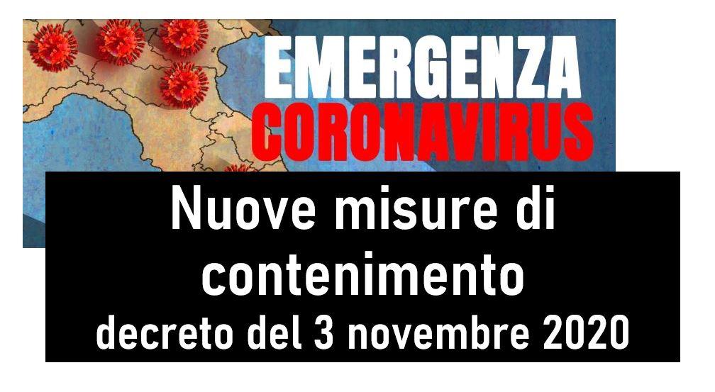 Protetto Aggiornamento del 15/11/2020: Nuove misure di contenimento – decreto del Presidente del Consiglio dei Ministri
