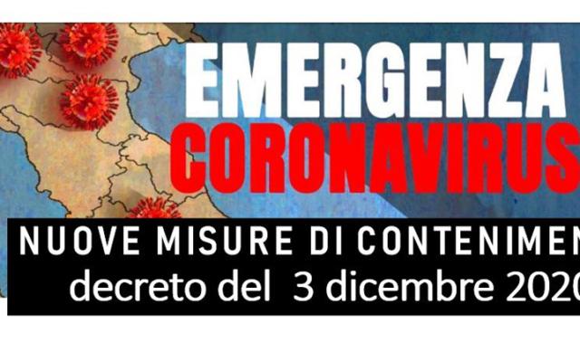 Protetto Nuove misure di contenimento – decreto del Presidente del Consiglio dei Ministri 3 dicembre