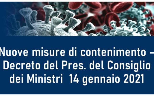 Protetto Nuove misure di contenimento – Decreto del Pres. del Consiglio dei Ministri 14 gennaio 2021