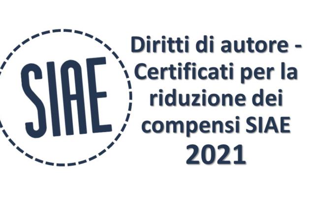 Protetto Diritti di autore – certificati per la riduzione dei compensi SIAE 2021