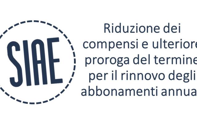 Protetto SIAE – Musica d'ambiente – Riduzione dei compensi e ulteriore proroga del termine per il rinnovo degli abbonamenti annuali