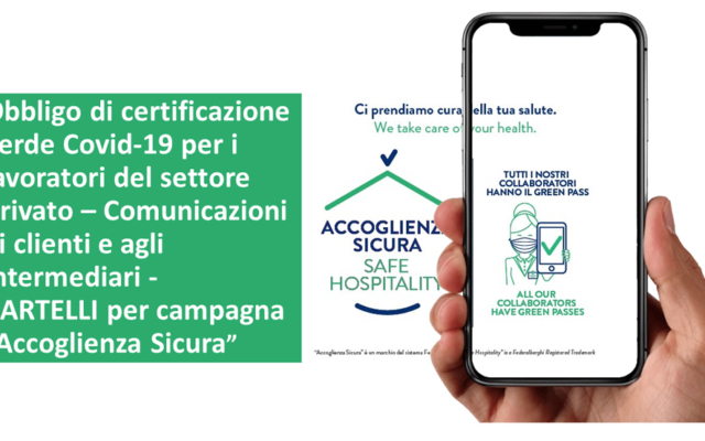 """Protetto Obbligo di certificazione verde Covid-19 per i lavoratori del settore privato – comunicazioni ai clienti e agli intermediari – CARTELLI per campagna """"Accoglienza Sicura"""""""